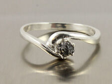 0.69 ct Opaque Jet Black Uncut raw Rough Diamond 925 sterling Silver ring N R$87