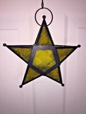 Vintage HANGING DECORATIVE Tealight MORAVIAN STAR HOLDER Stained Glass LAMP
