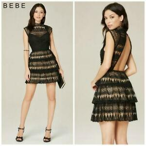 NWT BEBE Leigh Tierd Lace OPEN BACK Short Dress EXCLUSIVE Evening Fashion SZ 00