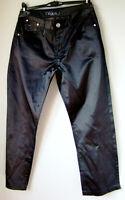 Pantaloni donna MAX & LIU jeans raso nero L elasticizzati strass