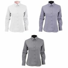 Women's Collared No Pattern Long Sleeve Sleeve Cotton Blend Tops & Shirts