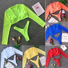 Женский бикини-комплект, купальный костюм, купальник, треугольник, купальник с подкладкой сетка с длинным рукавом