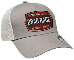 Drag Race Oldschool Trucker Cap Baseball Kappe V8 Hot Rod Biker Rockabilly sand