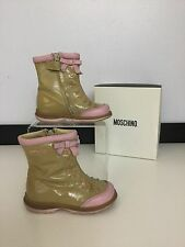 Moschino Baby Girls Size 5.5 22 Shoes Boots Nude Beige Pink Patent Leather Vgc