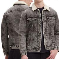 Levi's Men's Cotton Sherpa Lined Denim Jean Trucker Jacket Grey Smog 163650090