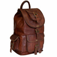 """New Large Vintage Style Real Genuine Leather Bag Rucksack Backpack Dark Brown"""