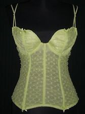Frederick's of Hollywood Green Lace Boned Corset Bustier Bra Size 36