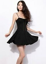 B02 Ladies Punk Skater Style Rockabilly Casual Dress lace-Up Padded Sexy Dress