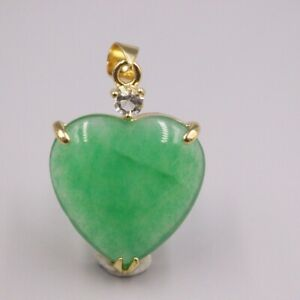 GP Heating Jade Pendant For Women Female Gold Lace Green Heart Lucky Charms