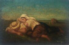 Tableau ancien signé, Huile sur panneau, Le repos des moissonneurs, Couple, XIXe