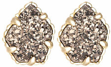 Kendra Scott Tessa Gold Plated Stud Earrings in Platinum Drusy