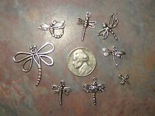 Mixed lot of 8 Different Silver Dragonfly Theme Pendants Charms No repeats