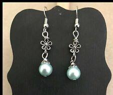 SEA FOAM FLOWER Wire Earrings Jewelry Pair - US Handmade