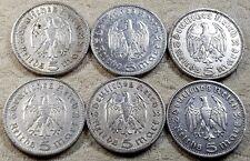UNIQUE 6 x Full Mint Set 5 ReichsMark Hinderburgh 1935 Nazi Silver Coins Lot 3