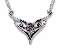 Real Metal JewelryPentacle w Wings & Red Stone Necklace