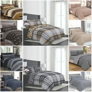 Cotton Duvet Cover Bedding Set with Pillow Cases Fitted Sheet 4pc Complete Set