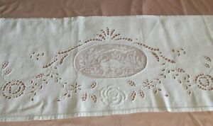 Large Doily Rectangular Path Table Cotton White Embroidered 49 5/8in x 15in