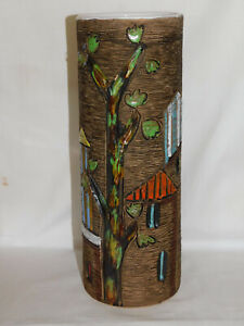 Unikat Atelierkeramik Vase 29,5 cm zylindrische Form Fratelli Fanciullacci Italy
