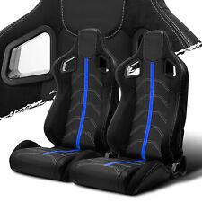 Black PVC Leather/Blue Strip/White Stitch Left/Right Recaro Style Racing Seats