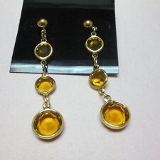 14KT GOLD EP TOPAZ GENUINE AUSTRIAN CRYSTALS DROP EARRINGS, E-111