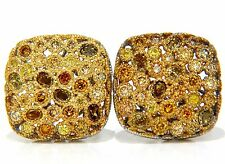 1.60CT NATURAL FANCY COLOR DIAMONDS CLIP COCKTAIL CLUSTER EARRINGS 14KT+