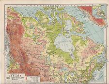1931 MAP ~ DOMINION OF CANADA NEWFOUNDLAND ~ PHYSICAL BRITISH COLUMBIA