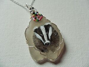 """Handsome badger necklace hand painted english sea glass 18"""" silver plated chain"""