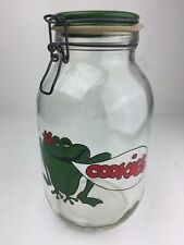 Frog Cookie Jar Vintage Clamp Swing Hinged Lid 3L Carlton Glass Large 10.5""