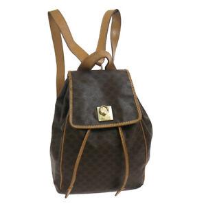 CELINE Macadam Backpack Hand Bag M161 Purse Brown PVC Leather Vintage 39768