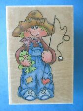 FISHING BOY Rubber Stamp FROG