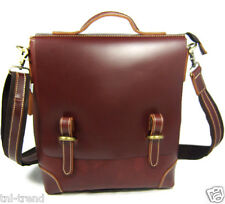 High-Class Men Full Grain Genuine Leather Brown Shoulder Bag Messenger Briefcase