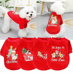 Christmas Style Dogs Hoodie Pet Supplies Cute Cat Printed Tops Autumn Soft Solid