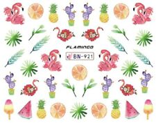 Nail Art Decals Transfers Stickers Pink Flamingos Fruit Ferns (BN921)