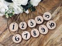 Rustic Wooden 1-10 11-20 wedding Table Numbers Log Slices