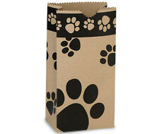 250 Paw Print pet Kraft paper gift bags food packaging wholesale bulk 5x3x9