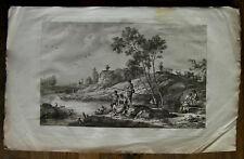 Gravure XVIIIème sur vergé etching engraving stampa