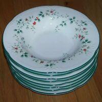 "Set of 8 Pfaltzgraff Winterberry 9"" Large Rim Soup Bowls UNUSED"