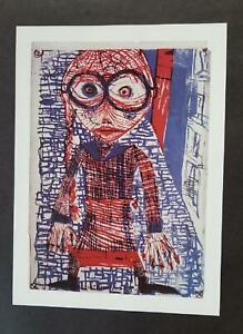 "Friedensreich Hundertwasser ""Girl With Eyeglasses""  Mounted offset Litho 1986"