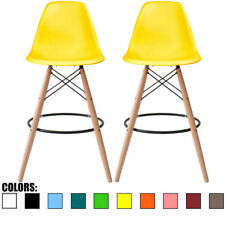 """Set of 2 28"""" Seat Yellow MidCentury Modern Plastic Armless No Arms DSW Stool"""
