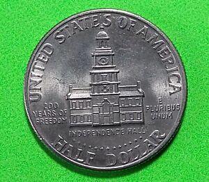 1976 USA Kennedy Half Dollar Coin - Independence Hall in coin pouch