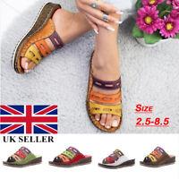Ladies Womens Wedge Heel Slip On Summer Mules Sandals Shoes Size UK 2.5-8.5