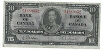 Bank of Canada 1937 W/D GordonTowersTen Dollar Banknote