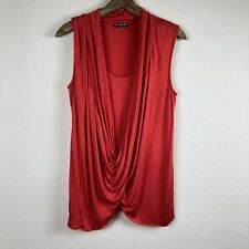 Cha Cha Vente Orange Red Sleeveless Women's Top Large