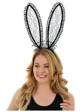 LACE BUNNY GIRL EARS BLACK FANCY DRESS BUNNY EARS BUNNY FANCY DRESS EARS LADIES