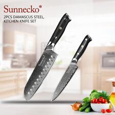 2PCS Damascus Steel Kitchen Knife Set Japanese Meat Vegetable Chef Santoku Knife