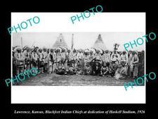 OLD LARGE HISTORIC PHOTO OF LAWRENCE KANSAS, THE BLACKFEET INDIAN CHIEFS c1926