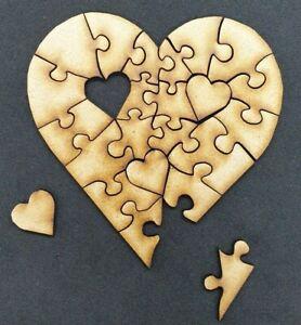 Wooden Jigsaw Blank Heart Shape 23 Piece Wood Craft Embellishment Decoration