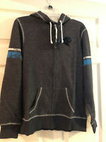 NEW WOMENS CAROLINA PANTHERS ZIPPER UP FRONT HOODIE NFL JACKET COAT SIZE LARGE