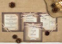 Rustic Wedding Invitation - Fairy Lights Double-Folded
