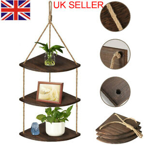 Rustic Hanging Swing Corner Shelves Wooden Rope Ladder Floating Shelf Storage UK